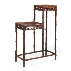 Antique Chinese Qing dynasty hardwood bamboo-form display stand