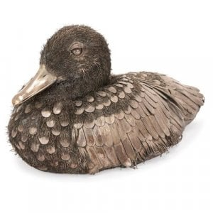 Italian silver model of a duck in the style of Buccellati
