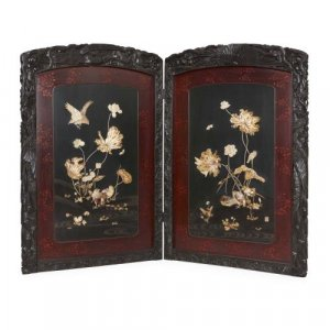 Japanese Meiji period folding carved wood Shibayama screen