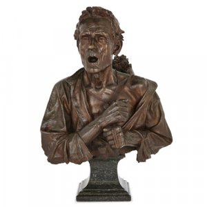 Antique Italian bronze bust sculpture on marble plinth