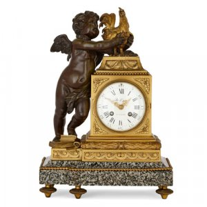 Gilt and patinated bronze mounted marble mantel clock