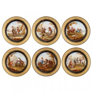 Set of six parcel gilt Sèvres style porcelain plates