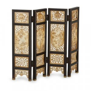 Carved ivory and wood antique Chinese screen