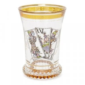 Antique enamelled Bohemian glass cup after Kothgasser