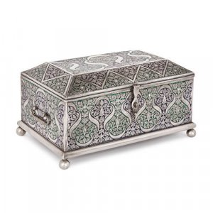 Large antique engraved and enamelled Bukhara silver casket