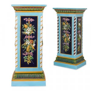Two English Victorian period Minton majolica pedestals