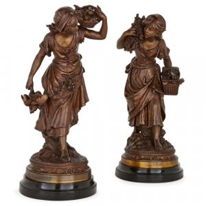 Pair of 19th Century spelter sculptures by Moreau