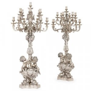 Large pair of Louis XIV style silvered bronze candelabra