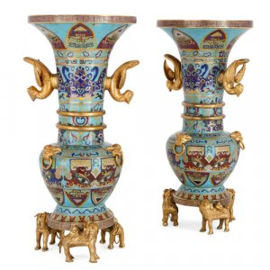 Pair of Chinese Qing dynasty cloisonné enamel and ormolu vases