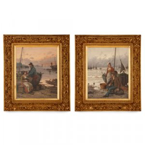 Pair of 19th Century Dutch harbourside paintings by Hörde