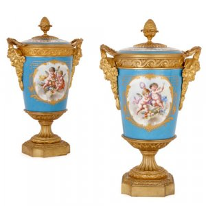 Pair of Sèvres style porcelain vases with gilt bronze mounts