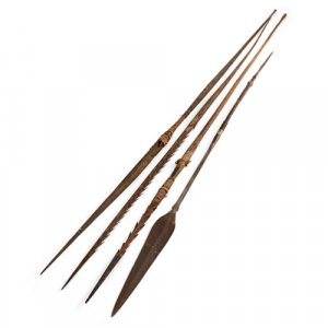 Set of four African tribal hunting spears