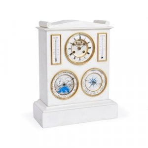 Marble mantle clock, barometer, thermometer and lunar scale