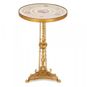 Gilt bronze side table with round floral porcelain top