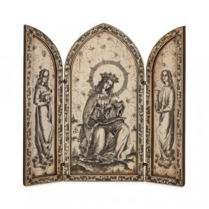 19th Century engraved bone triptych of the Madonna