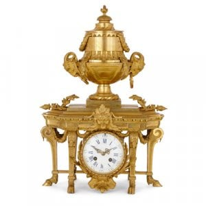 Louis XVI style French antique ormolu mantel clock