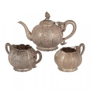 Chinese export silver antique tea set by Tu Mao Xing
