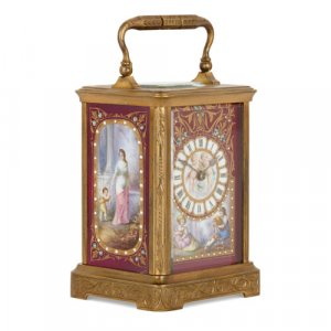French Sèvres style porcelain and ormolu carriage clock