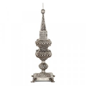 Continental filigreed silver Judaica spice tower