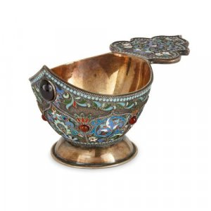 Russian silver gilt and cloisonné enamel kovsch