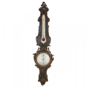 French gilt metal and painted wood wall barometer