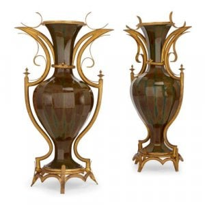 Pair of ormolu mounted rare Lithyalin glass antique vases