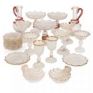 Antique Bohemian parcel gilt frosted glass dessert service
