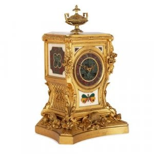 Antique pietra dura and ormolu mantel clock by Barbedienne