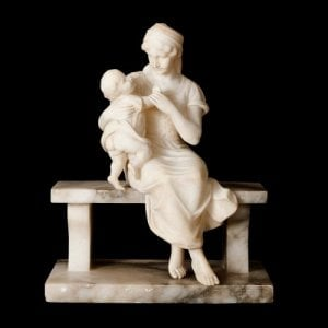 Italian alabaster sculpture of a woman and child by Pugi