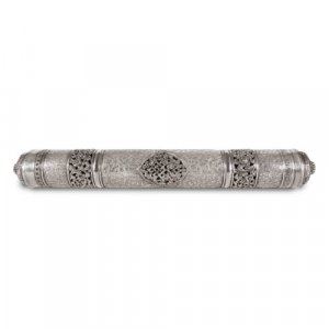 Burmese engraved silver cylindrical marriage document case