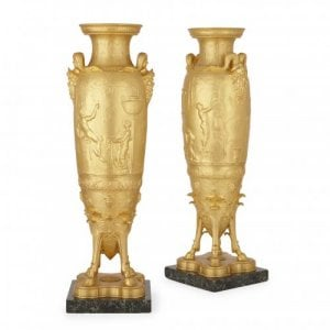 Pair of antique ormolu vases by Levillain and Barbedienne