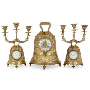 Antique French brass bell-shaped clock set
