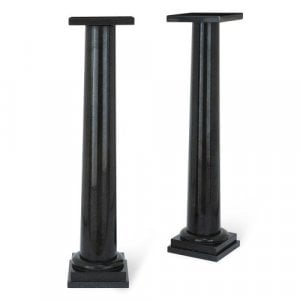 Pair of antique Italian black granite columns