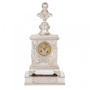 19th Century Spanish silver mantel clock by Carreras