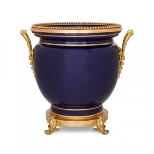 Ormolu mounted Sevres style blue porcelain jardiniere