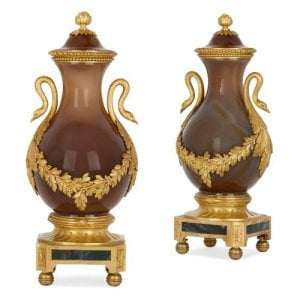 Pair of small Russian ormolu mounted agate vases
