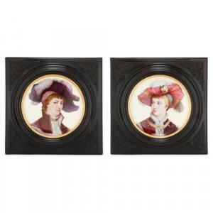 Pair of Renaissance style Montereau faience chargers