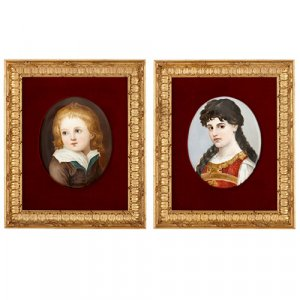Pair of 19th Century KPM portrait plaques of boy and girl