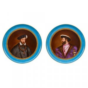 Pair of French Sevres style porcelain portrait plates