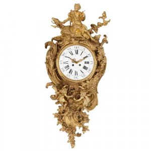 Louis XVI style antique French ormolu cartel clock