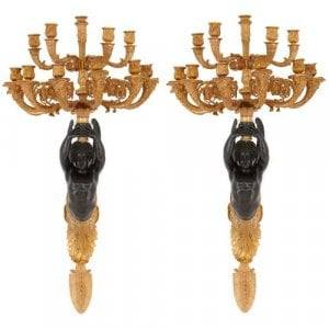 Pair of Empire style French bronze antique wall lights