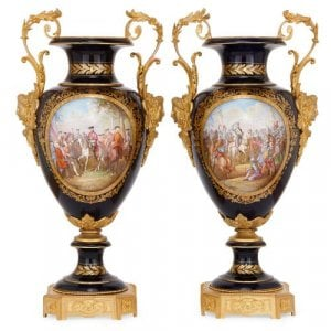 Pair of blue Sevres style porcelain and ormolu vases