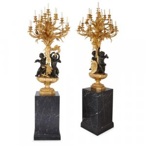 'War and Peace', pair of monumental candelabra by Beurdeley