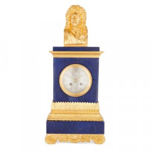 Charles X period ormolu and lapis lazuli mantel clock