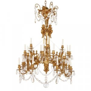 Neoclassical style antique gilt bronze French chandelier