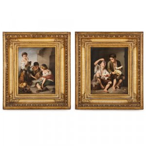 Pair of KPM porcelain plaques painted after Murillo