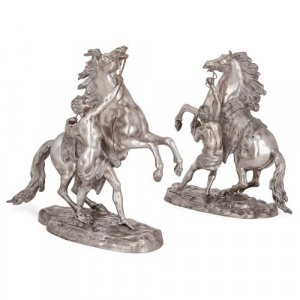 Antique pair of silvered bronze models of the Marly horses