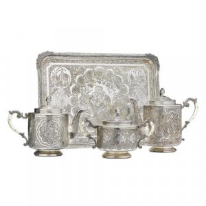 A fine ivory mounted silver three piece tea and coffee set