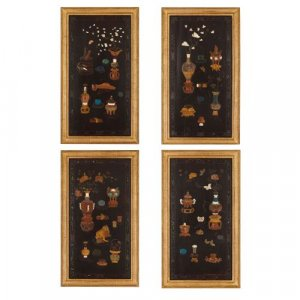 Set of four Chinese mother-of-pearl and lacquer panels