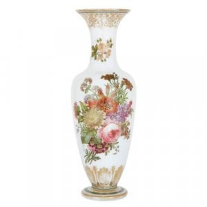 Antique French enamel-painted opaline glass vase by Baccarat